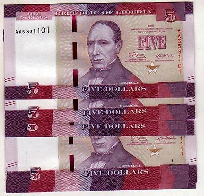 LIBERIA 5 DOLLARS 5$ 2016 P-NEW UNC 25pcs BUNDLE