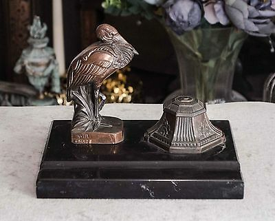 A vintage French ink well with a spelter heron on a marble base