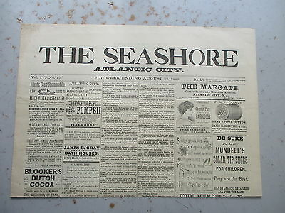The Seashore - Atlantic City New Jersey EARLY Newspaper - August 22, 1889