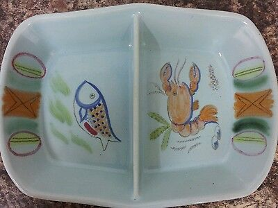 Vintage Buchan Scottish Stoneware Riviera Pattern Large Divided Dish M7-185