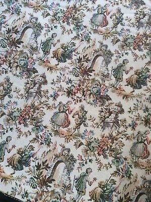 Vintage unused large length of French tapestries fabric