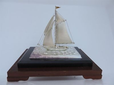 Finest Hand Crafted Japanese Sterling Silver 950 Model Yacht Ship No Glass Case