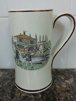 "Rare Vintage 1950s Sandland Ware 6.6"" Tankard Fly Fishing Compleat Angler Verse"