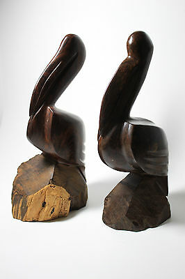 Pair of Carved Rosewood Pelican Wooden Figurines Lot of 2