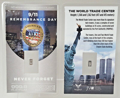 9/11 Remembrance Day PURE 99.9 Platinum .125 Gram Bullion Bar w/COA NEVER FORGET