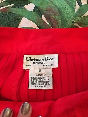 Vintage Dior Red Silk Skirt Size 6