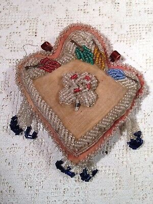 Antique Victorian Beaded Pin cushion With Bead Fringe