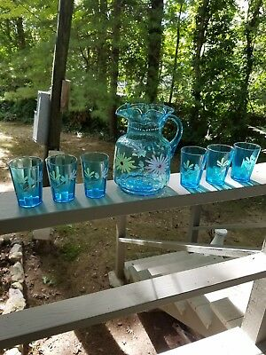 Victorian Water, Lemonade Set Pitcher With 6 Glasses Ex.
