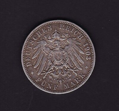 Germany 1903 A Prussia 5 Mark Coin