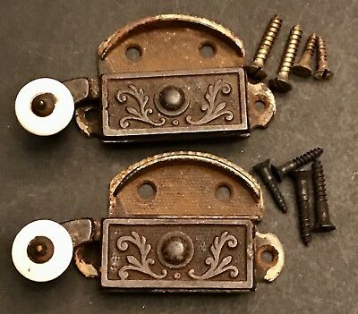 Antique Victorian Ornate Cast Iron Porcelain Eastlake Window Latches 1873 two 2