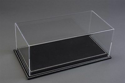 1/24 Display case, Black leather stitched base Hand made, scratch resistant acry