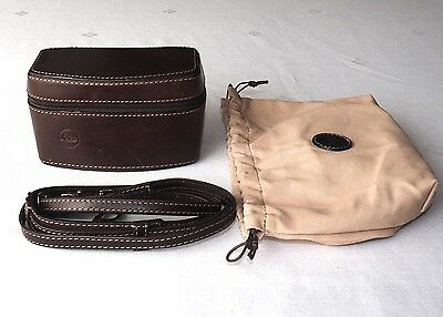 LEICA 18560 RARE PREMIUM HIDE CASE for CM ORIGINAL STRAP & CLOTH BAG VERY NICE!
