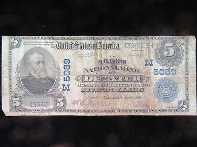 1902 Decator, Illinois $10.00 Large Size National Note!