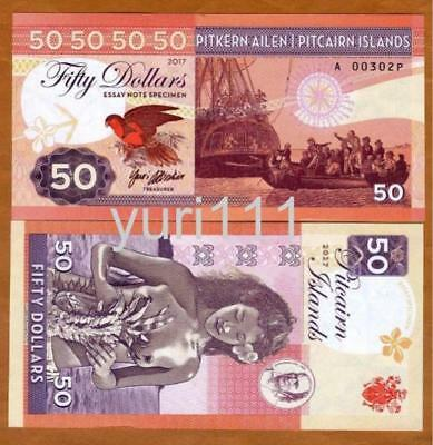 Pitcairn Islands, $50 private issue, 2017, Bounty, Polynesian Nude