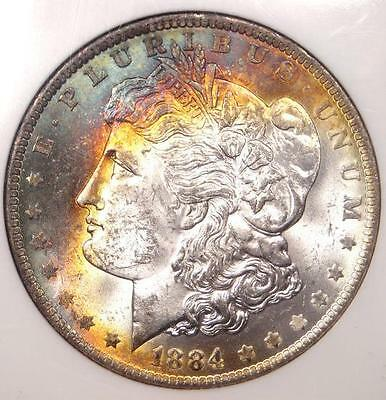 1884-O Toned Morgan Silver Dollar $1 - Certified NGC MS63 - Nice Rainbow Toning!