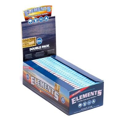 12 Packs - Elements 70mm Ultra Thin Rice Rolling Paper Single Wide(100 Leaves Pe