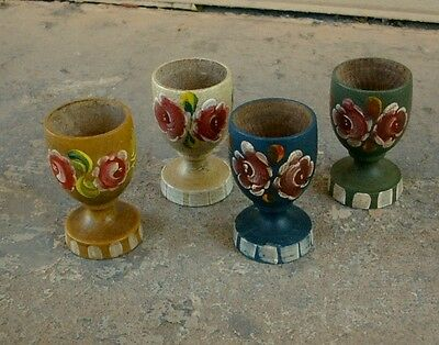 Set of FOUR Hand-Painted Tole Ware WOODEN EGG CUPS Floral Designs