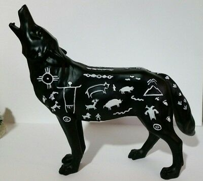 "Howling Wolf with Southwest Petroglyphs Westland Rock Art Wolf 6"" tall x 7"" long"