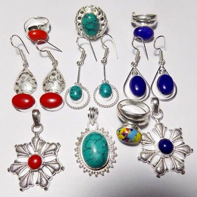 Jewelry For Gift10 Pc Wholesale Lot 925 Sterling Silver Overlay Mix Jewelry Lot