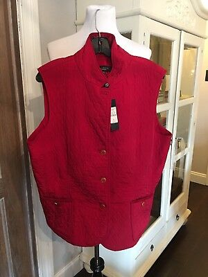 NWT TALBOTS WOMEN'S SOLID Red Riding QUILTED VEST, SIZE XL New