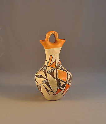 Old Vintage Acoma Indian Wedding Vase Pot - Tall Thin Double Spouted Polychrome