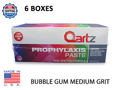 6 BOXES Qartz Prophy Paste Cups BUBBLE GUM MEDIUM 200/Box  Dental  W/Flouride