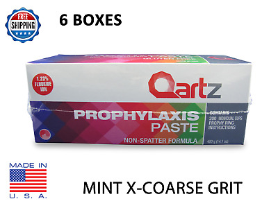 6 BOXES Qartz Prophy Paste Cups MINT X-COARSE 200/Box  Dental W/Flouride