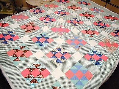 Stunning - Vintage 1930's Feed Sack Fabric Quilt Top - All Hand Done!