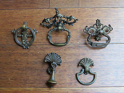 Lot Of 5 Antique Vintage Solid Brass Drawer Pulls