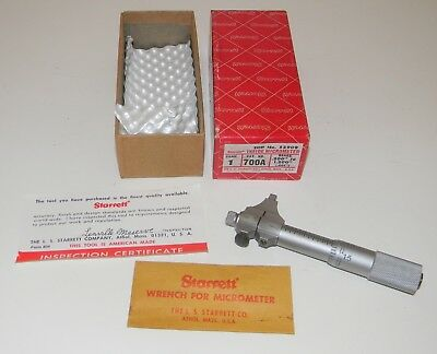 "Vtg Starrett Inside Micrometer Tool # 700A .200"" To 1.300"" Unused In Box Nice"