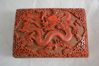 Antique Chinese Carved Cinnnabar Lacquered Box Dragon