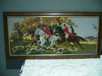 Vintage Large Tapestry Picture In Frame - Hunting Scene - Horses Dogs & Riders