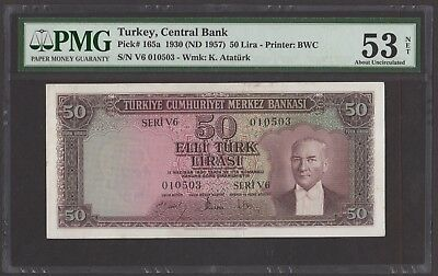 Turkey 1930 P-165a PMG AU 53 net 50 Lira