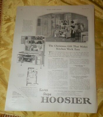 "1922 Hoosier Cabinet Christmas Ad-""Saves Steps"""