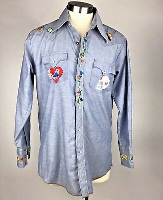 VTG 70s Chambray Embroidered Hippie Shirt Men's Palm Tree Football Hippie 16 XLT