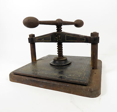"""ANTIQUE CAST IRON STRAIGHT BALL HANDLE BOOK / COPY PRESS 11"""" x 10.5"""" WORK SPACE"""