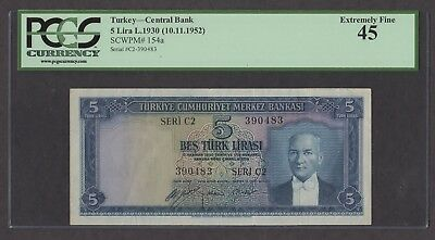 Turkey 1930 (ND 1952) P-154a PCGS XF 45 5 Lira
