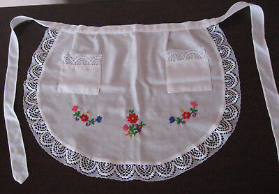 Vintage Hungarian Apron with Hand Embroidery