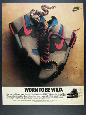 1988 Nike Lava High & Son of Lava Dome Hiking Boots snake photo vintage print Ad