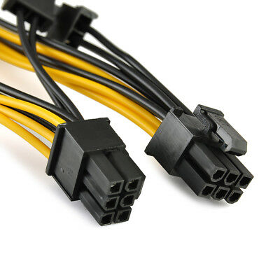 Useful PCI-E 6-pin to 2x 6+2-pin (6-pin/8-pin) Power Splitter Cable PCIE Express