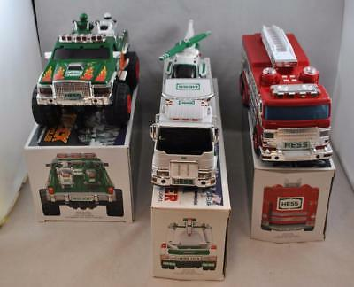 HESS Gasoline Lot of 3 Trucks Motorcycles Firetruck Helicopter  2005 2006 2007
