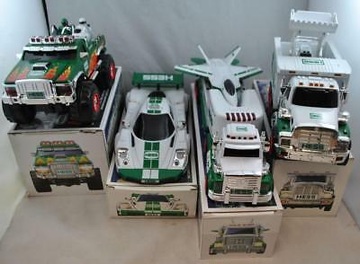 HESS Lot of 4 Trucks Motorcycle Racecar Front Loader Planes 2007 2008 2009 2010