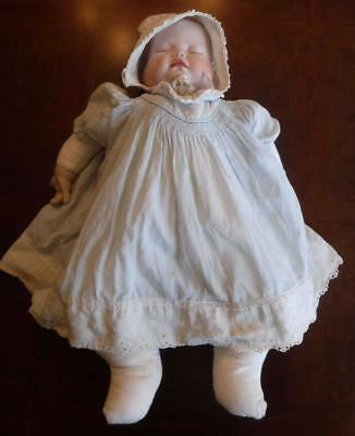 """Vintage 3 Face Porcelain Bisque Witon Handmade Baby Doll 21"""" Cloth Body Signed"""