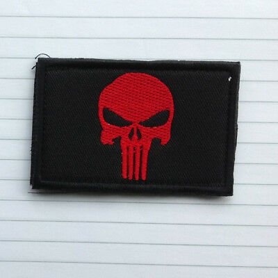 Punisher Skull Swat Usa Army Military Tactical Morale Patch Dark Red Hook Badge