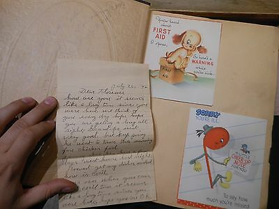 1940s HUGE GET WELL Card Scrapbook Album Vintage Greetings Cute Animals Letter +