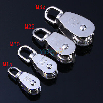 304 Stainless Steel Single Wheel Swivel Pulley Block Lifting Rope M15/20/25/32 G