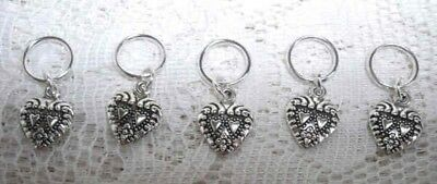 Stitch markers with small heart charms