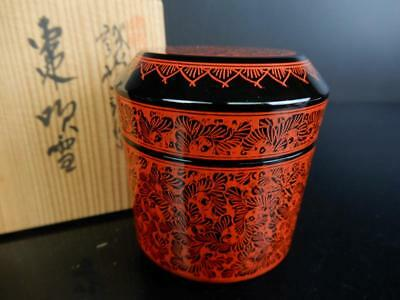 H9516: Japanese Wooden Lacquer ware TEA CADDY Natsume Chaire w/box