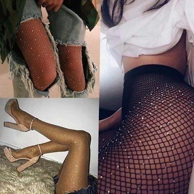Fashion Women High Waist Tight Sparkle Rhinestone Fishnet Stockings Pantyhose RD