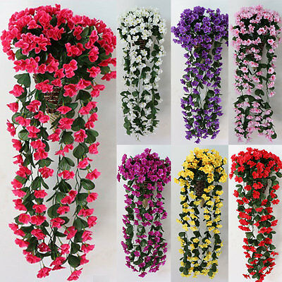 1 Bunches of Artifical Violet Bracketplant Hanging Garland Vine Flower Traling Y